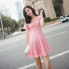 Lace-a dress for women in summer 2019 new skirt with slim, short sleeves, small fragrance, V-collar and short skirt