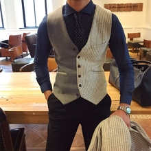 Mr. Lusan's autumn and winter elegant and skillful horseback clip Men's English stripe stitching color leisure business vest tide mixing