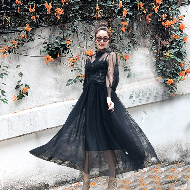 ALU with the same paragraph high-definition palace style black gauze perspective is very fair dress dress