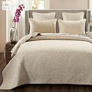 美式纯棉床盖纯色绗缝被加大三件套全棉衍缝床罩空调被床单纤之色