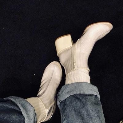 透明靴子女春夏欧美中粗跟短靴网红同款高跟鞋凉靴雨靴小香透明鞋