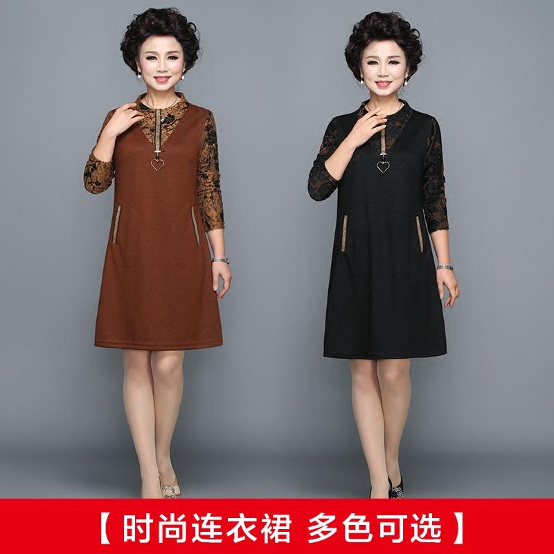 妈妈春装长袖连衣裙40-50岁中年人女秋冬裙子中老年打底衫中长款
