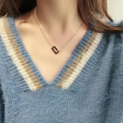 韩国 玫瑰金色撞色几何短款钛钢项链锁骨链防过敏不掉色