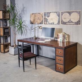 简约单人实木家用台式电脑桌复古办公桌工作台写字桌书桌子带抽屉