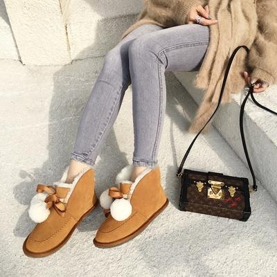 BB古正版女鞋 冬季真皮加厚羊羔毛保暖平底雪地靴 毛毛球平跟短靴