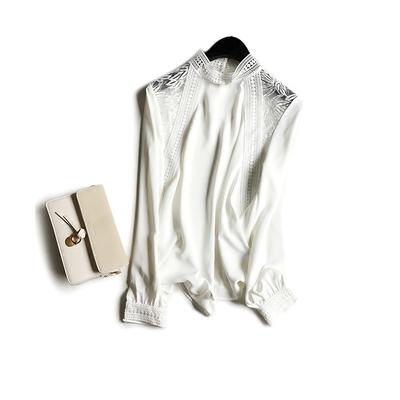 复古宫廷风肩部镂空蕾丝提花 立领雪纺长袖衬衫女18年春夏新款