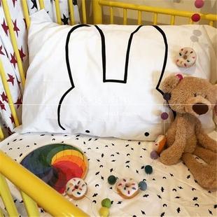 北欧简约风儿童宝宝婴儿纯棉斜纹枕套床上用品黑白卡通家居枕套