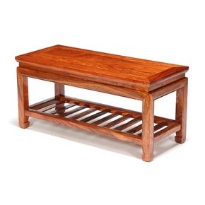 花梨木中式春凳 实木双层换鞋凳子 红木家用双人长方凳长条小鞋柜