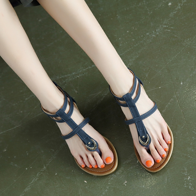 罗马夹趾凉鞋女2019夏季新款波西米亚复古镂空坡跟舒适旅游女鞋