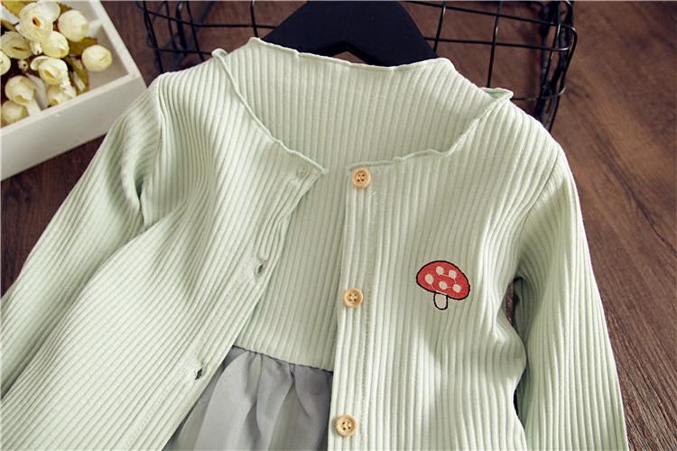 亏本清仓 儿童长袖连衣裙+上衣开衫两件套 女童春秋网纱裙子套装