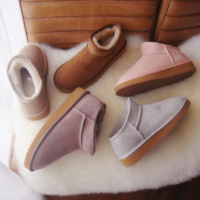 澳洲羊皮毛一体低帮冬季雪地靴一脚蹬情侣男女短筒纯羊毛棉鞋新款