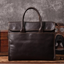 Creative first-class cowhide horizontal handbag leather men OL business leisure briefcase with one shoulder inclined computer bag