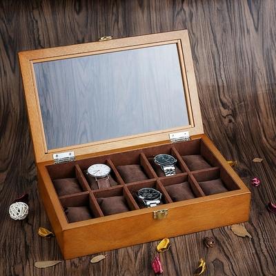 雅式欧式木质手表盒子10格天窗手表展示盒收藏收纳盒首饰手链盒