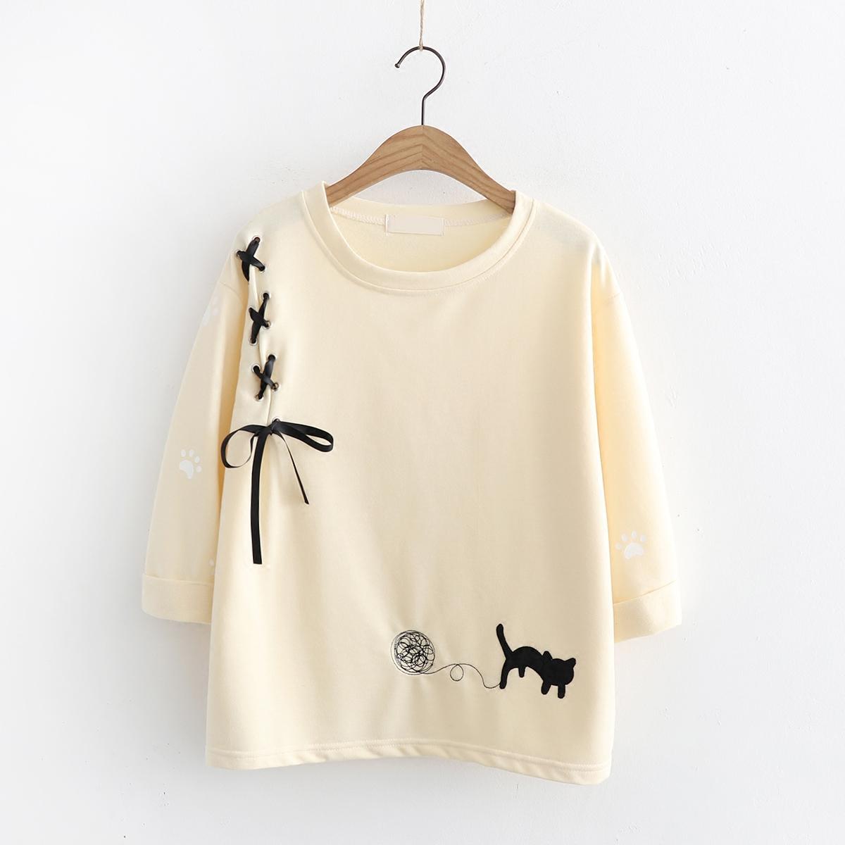 日系猫咪刺绣t恤