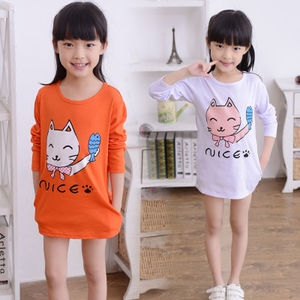 儿童休闲上衣女宝宝中长款T恤潮