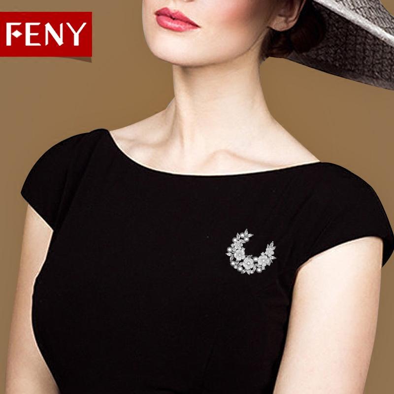 FENY简约大气质人造珍珠胸花女胸针 日韩国版开衫外套别针配饰品