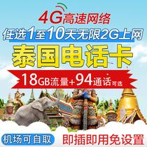 泰国电话卡5/7/8/10/16天4G手机上网卡普吉岛曼谷旅游2g无限流量