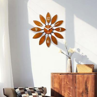 实木北欧静音创意大挂钟客厅餐厅时钟表木质欧式现代简约卧室挂表旗舰店