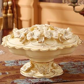 可旋转欧式陶瓷果盘奢华水果盘创意现代客厅干果盘分格带盖糖果盒