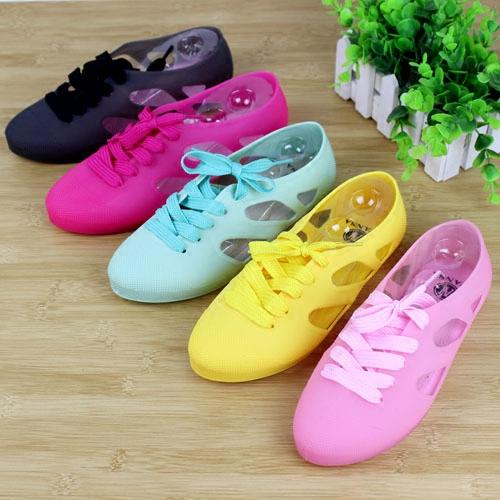夏季女鞋果冻色凉鞋沙滩鞋洞洞鞋镂空平跟平底鞋前系带防滑瓢鞋子