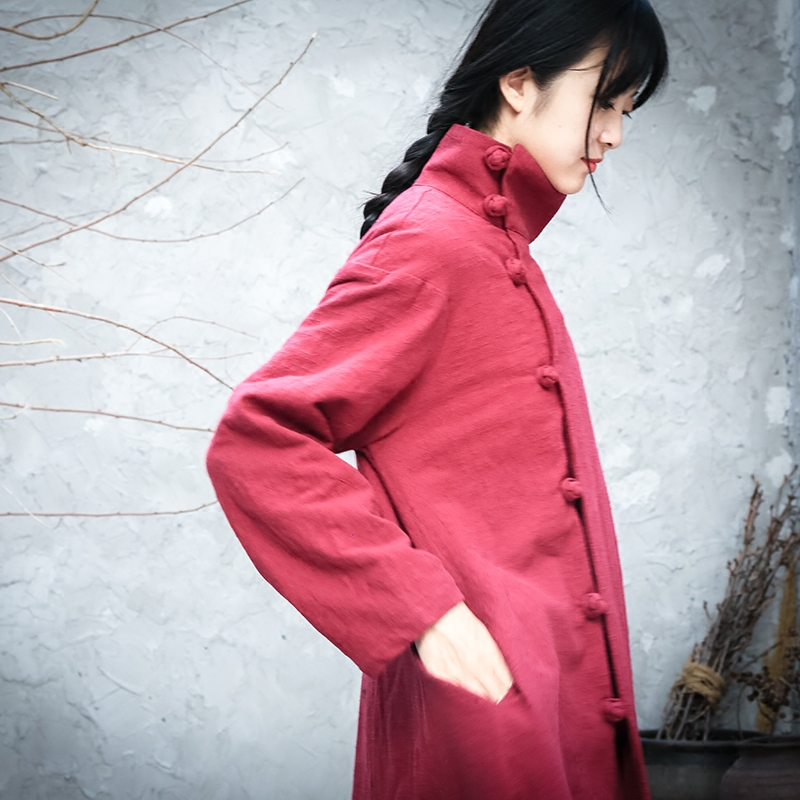 外套棉麻长外套中式长