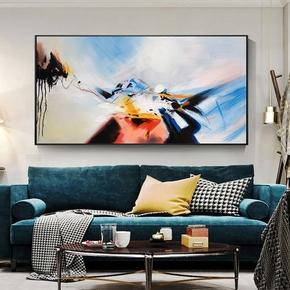 简约现代装饰画手绘抽象油画客厅挂画纯手工刀画单幅卧室床头横画