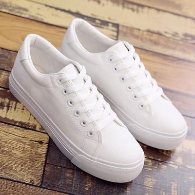 2018新款秋季小白鞋女厚底松糕白色帆布鞋增高学生夏韩版百搭板鞋