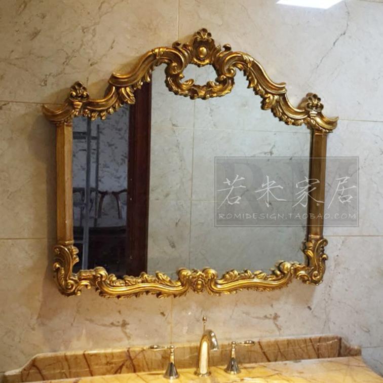 98*86欧美法式金色箔装饰镜横版镜浴室镜壁炉镜化妆镜卫生间镜子