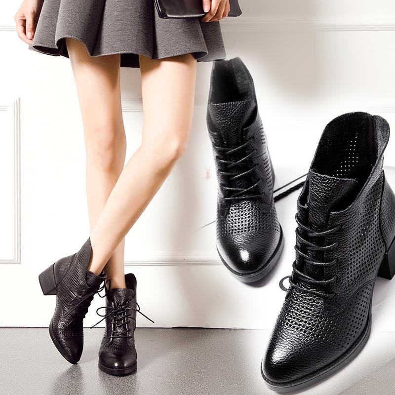 系带镂空马丁靴