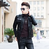 Men's plus-thick warm motorcycle leather clothing Korean version of fashion fashion style slim leather jacket young tide men plus velvet leather jacket
