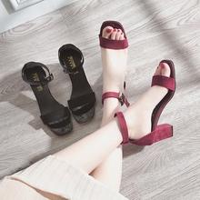 韩版 一字扣高跟鞋 软妹凉鞋 女夏中跟2018新款 女士罗马鞋 百搭仙女鞋