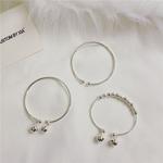 韩国简约电镀925纯银开口可调节铃铛手镯 银色手链手环 闺蜜礼物