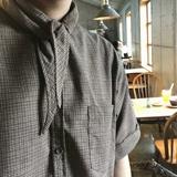 【JM】自制 复古风 袖口毛边 棕色格子 韩风英伦短袖打结衬衫男女