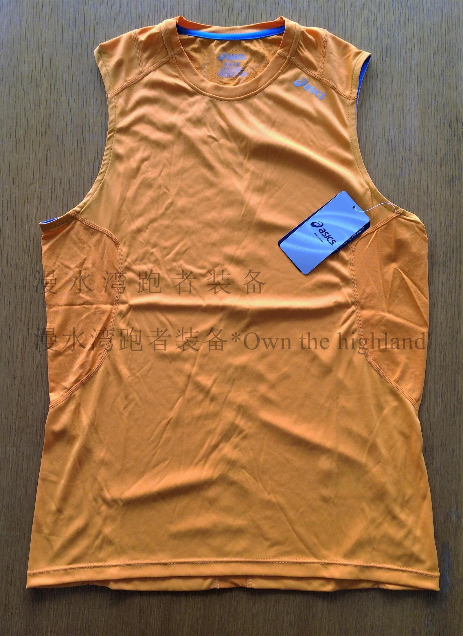 美国海淘Asics/亚瑟士男款无袖运动衫跑步马拉松网羽球类速干防晒