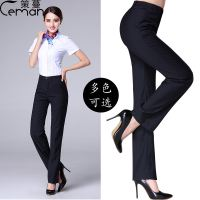 Xia Xia female professional black high waist straight dress pants trousers bank work suit work pants nine pants thin