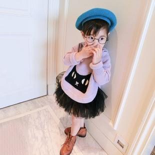 图图的商店2017秋新品女童装中小童卡通连帽蝙蝠衫毛衣针织衫上衣