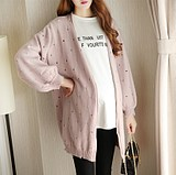 Pregnant women's autumn sweater jacket new style 2019 Korean version loose sleeve jacket fashion knitted cardigan