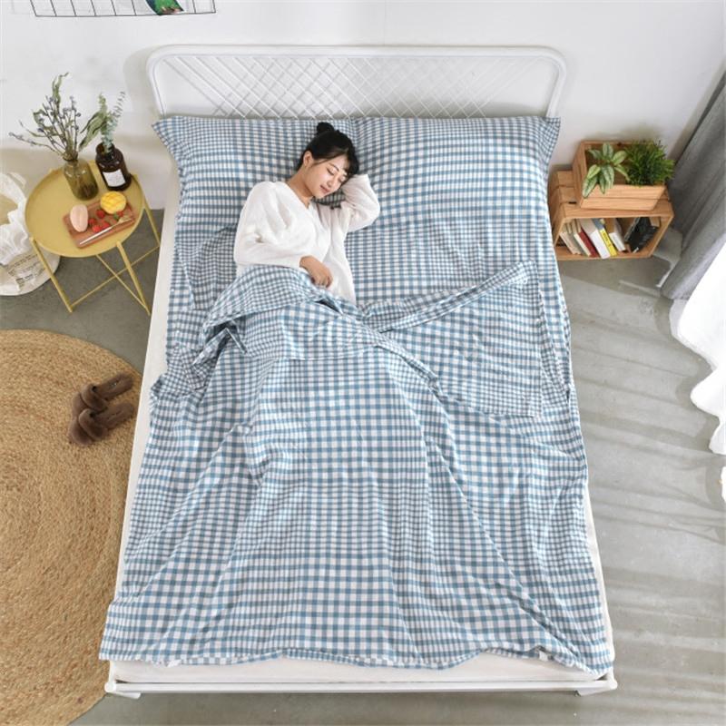 纯棉水洗棉旅行睡袋成人便携式酒店宾馆出差单人双人室内隔脏床单