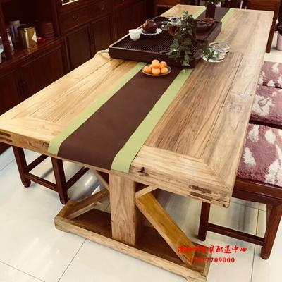 正品漫咖啡家具 桌椅 老门板老榆木 原木 榫卯 六八十人长餐桌品牌巨惠