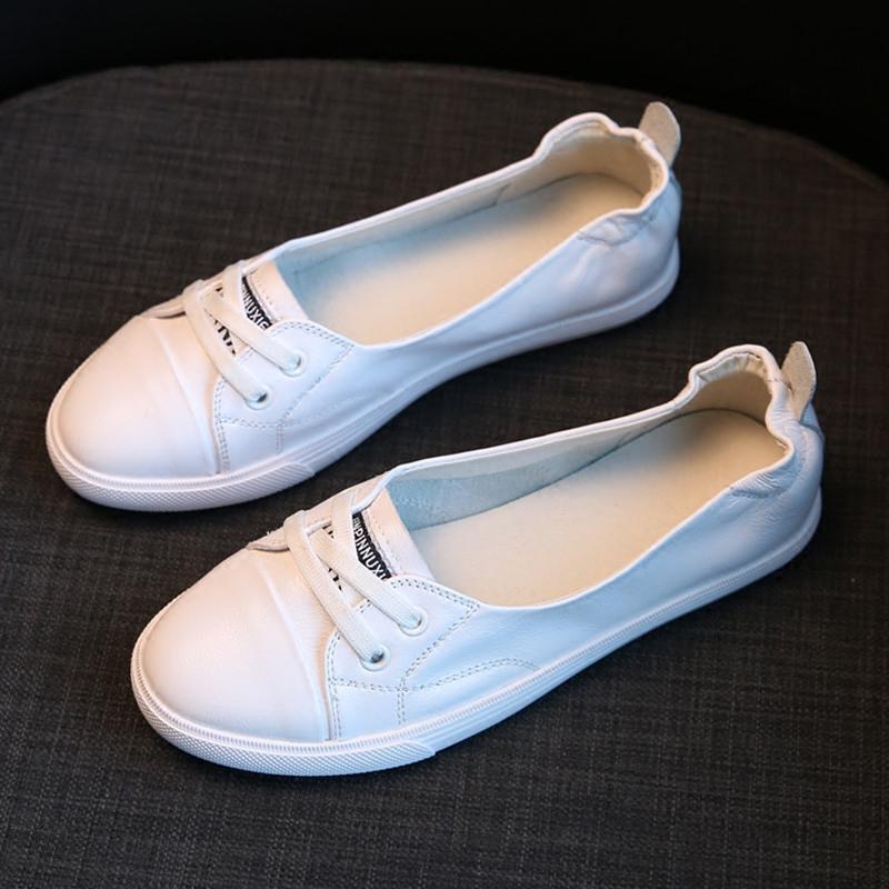 真皮浅口小白鞋女2019洋气春夏新款平底休闲旅游开车孕妇学生板鞋