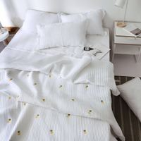 Ins wind Korea washable bed cover three sets of quilted sheets quilted embroidered summer is 3 sets of single bed cover