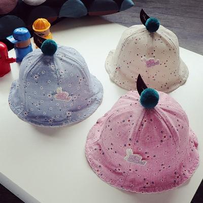 儿童宝宝帽子小花渔夫帽杨梅盆帽新款防晒盘帽婴幼儿帽子2-10个月