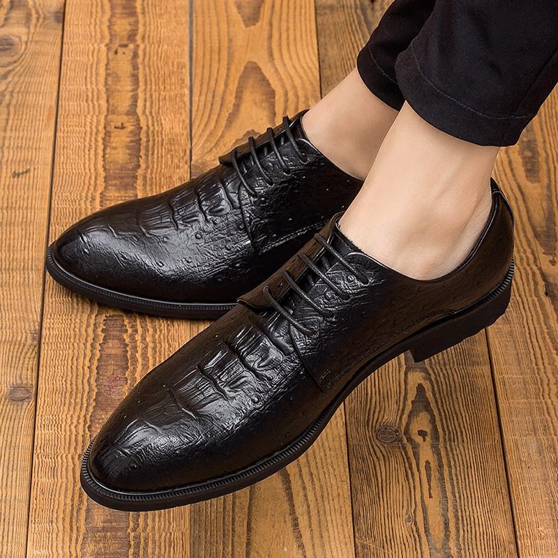 英伦尖头鳄鱼纹男士皮鞋