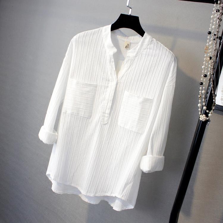 立领口袋衬衫白色