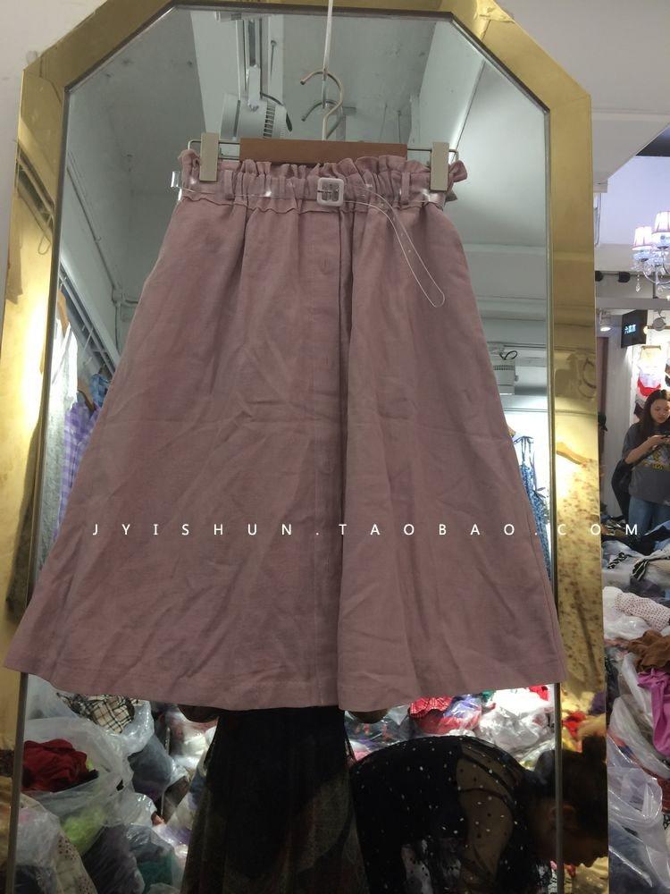 韩国订购2018夏款新品松紧腰配腰带百搭显瘦半身裙女2件包邮
