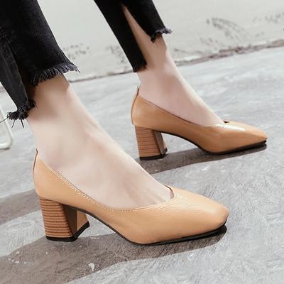 2018春款粗跟浅口奶奶鞋复古方头工作鞋女舒适单鞋软皮高跟女鞋夏