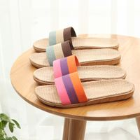 Slippers summer linen slippers home slippers men's sandals and slippers women's indoor wooden floor sandals