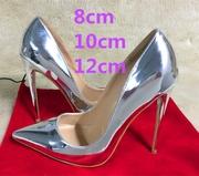 欧美12cm超细尖头银色高跟鞋漆皮浅口单鞋礼服伴娘新娘鞋婚鞋小码