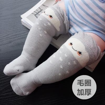 秋冬婴儿中筒袜宝宝纯棉可爱高筒袜长筒护膝袜儿童保暖袜6-12个月