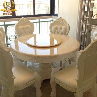 歐式餐桌椅組合6人天然大理石圓桌實木餐臺田園桌子白色雕花飯桌哪個好